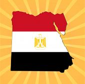 Egypt map flag on sunburst illustration