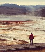 man on Mammoth Hot Spring