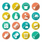 pic of dust-bin  - Set flat icons of cleaning isolated on white - JPG