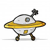 stock photo of flying saucer  - cartoon flying saucer - JPG