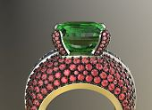 image of peridot  - Golden Ring with Diamond - JPG