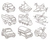 pic of dumper  - set of transport icons  - JPG