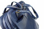 picture of cross-section  - Blue Leather Sporty Bag with Gold Details and Striped Handles Cross Section on white background - JPG