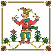 image of minstrel  - Russian traditional popular print style jester  - JPG