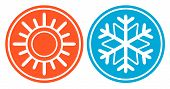 picture of freezing temperatures  - isolated icon with snowflake and sun  - JPG