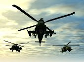 stock photo of military helicopter  - Computer generated 3D illustration with Apache Helicopters - JPG
