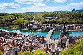 picture of charles de gaulle  - The top view of Dinant with Pont Charles de Gaulle bridge over Meuse river in Belgium - JPG