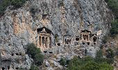 image of dalyan  - Kaunian rock tombs in Dalyan Ortaca Turkey - JPG