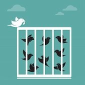 ������, ������: Vector image of bird in the cage and outside the cage