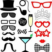 picture of  lips  - mustaches lips eyeglasses silhouettes and design elements for party props isolated on white background - JPG