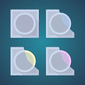 foto of condom  - Flat icons of colored condom - JPG