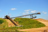 foto of sand gravel  - Sand and gravel quarry conveyor belt Alrewas Staffordshire England UK Western Europe - JPG