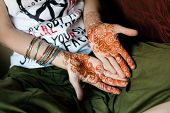 pic of henna tattoo  - Girl with beautiful Henna Tattoo in India - JPG