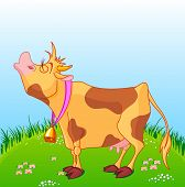 picture of moo-cow  - Illustration of cute cow moos on a sunny meadow - JPG
