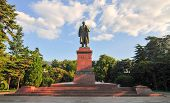 pic of lenin  - Statue of Lenin on a pedestal in Yalta Crimea - JPG