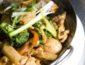 foto of wanton  - pan asian fusion thai vietnamese food shrimp chicken with fresh vegetables and pan fried thin wanton noodles - JPG