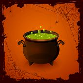 stock photo of witches cauldron  - Halloween background with spiders and witches cauldron with potion illustration - JPG