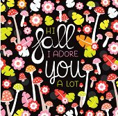 picture of adoration  - Hi fall I adore you a lot hand lettering postcard cover design with autumn leaves and toadstool blossom in vector - JPG