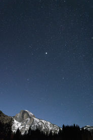 image of granite dome  - Half Dome At Yosemite On A Clear - JPG