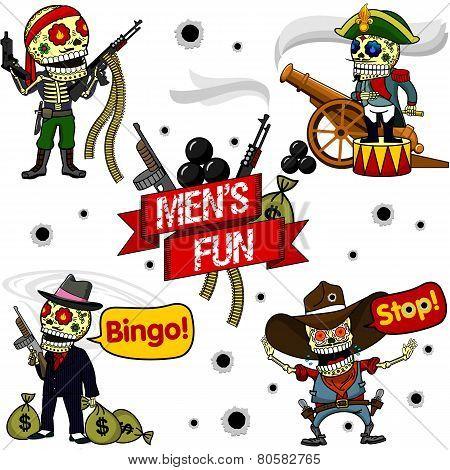 Funny Skeletons Mens Fun