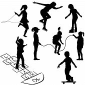 stock photo of hopscotch  - Active kids - JPG