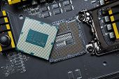 stock photo of processor socket  - Modern central processor unit on motherboard - JPG