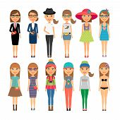 stock photo of outfits  - Girl dressed in a variety of different outfits - JPG