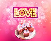image of glowing  - Vector gold inscription love with glowing lamps cut on a pink background with big cake - JPG