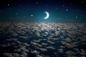 image of moon stars  - backgrounds night sky with stars and moon and beautiful clouds  - JPG