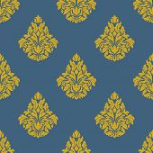 picture of blue-bell  - Seamless abstract orange flowers pattern with ornate leaves and bells inflorescences on blue background for upholstery and hangings design - JPG