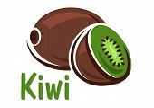 Постер, плакат: Kiwi fruit with green juicy slice