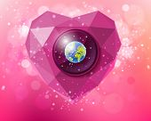 stock photo of planet earth  - Vector pink heart of polygons with planet Earth inside a soft background with bokeh - JPG