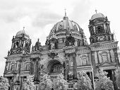 stock photo of dom  - Berliner Dom cathedral church in Berlin Germany in black and white - JPG