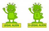 picture of alien  - Humorous cartoon of legal alien and e - JPG