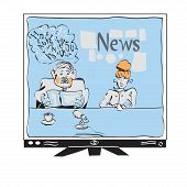 stock photo of mass media  - Illustration of a broadcaster reading news on TV - JPG