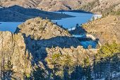image of collins  - frozen Seaman Reservoir on North Fork of Cache la Poudre River  - JPG