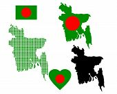 stock photo of bangladesh  - map of Bangladesh in different colors and symbols on a white background - JPG