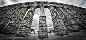 foto of aqueduct  - The old Roman Aqueduct in Segovia - JPG