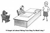 stock photo of working-dogs  - The businesswoman forgot it was bring your dog to work day - JPG