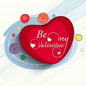 stock photo of corazon  - Red heart with text Be My Valentine on stylish blue background for Happy Valentines Day celebration - JPG