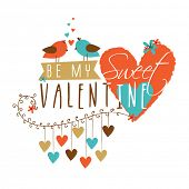 picture of corazon  - Cute bird couple in love with text Be My Sweet Valentine and hanging hearts for Happy Valentines Day celebration - JPG