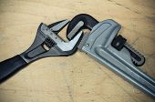pic of pipe wrench  - Tools set in vintage picture style  - JPG