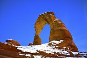 image of arch  - Delicate Arch at night in Arches National Park Utah in winter - JPG