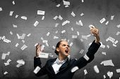 image of scream  - Young aggressive businesswoman screaming in mobile phone - JPG