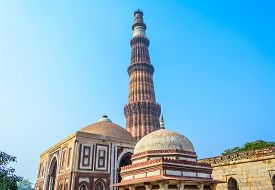 stock photo of qutub minar  - Famous Qutub Minar complex in Delhi - JPG