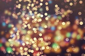 foto of christmas  - Festive background with natural bokeh and bright golden lights - JPG
