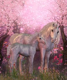 image of fillies  - Spring finds a white Unicorn mare and foal resting under blossoming cherry trees - JPG