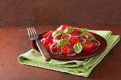 image of vinegar  - healthy tomato salad with onion basil olive oil and balsamic vinegar - JPG