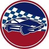 pic of muscle-car  - Illustration of a sports car racing set inside circle with chequered racing flag in the background done in retro style - JPG
