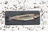 foto of peppercorns  - Trout fish on slate board with peppercorns - JPG